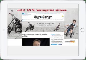 Bank Coop Kampagne, eine Kombination von Branding-, Content- und Performance-Platzierungen