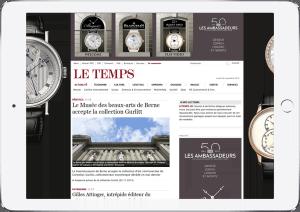 Brandingkampagne für Les Ambassadeurs, Screenshot Tablet